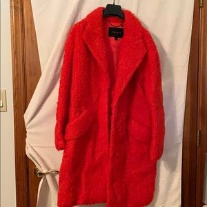 Red/Orange Fuzzy Coach Coat NWOT
